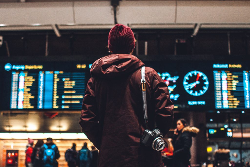 Guy with camera in the airport