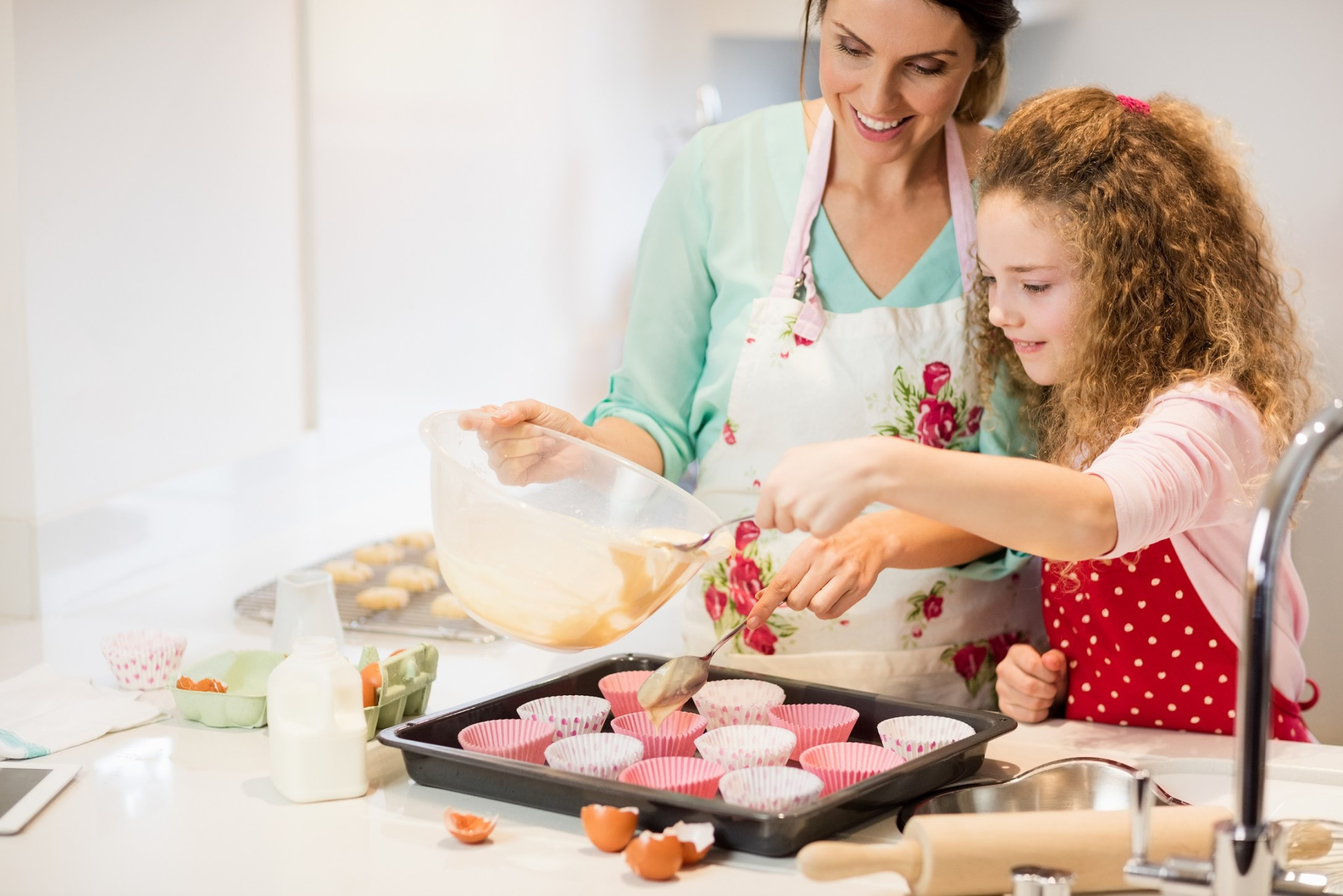 parent cooking and baking with child
