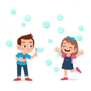 cute kid boy and girl blow bubble