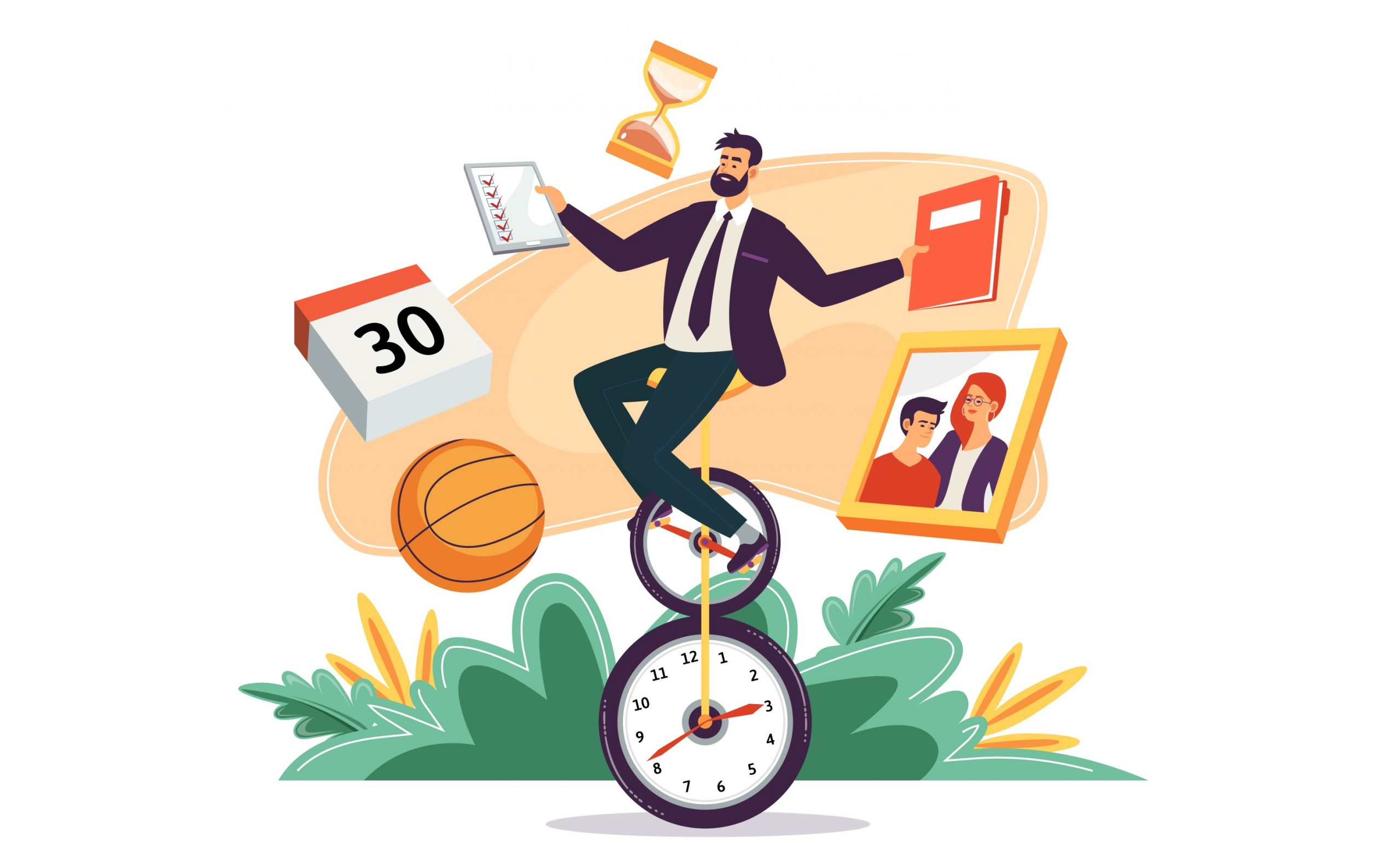 man juggling his time, time management